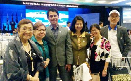 (Left to Right) Dr. Nelia T. Gonzalez, SERDEF Chairperson; Dr. Paz Diaz, SERDEF Board Secretary; Mr. Ricardo Casco, IOM National Programme Officer/Mission Coordinator; and SERDEF Board Members Ms. Serenidad Lavador, Ms. Angelita Resurreccion, and Prof. Jose Tabbada at the end of the Reintegration Summit