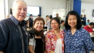 (Left to Right): SWS President Dr. Mahar Mangahas, and SERDEF Board Members Dr. Paz H Diaz, Ms. Angelita Resurreccion, and Ms. Serenidad F. Lavador after the presentation of final results of the scoping study