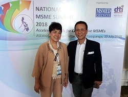 SERDEF Trustee Ms. Arlene Liberal and Mr. Jerry Clavesillas, Director of the Bureau of Micro, Small & Medium Enterprise Development (BMSMED)-DTI and SERDEF member