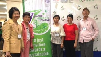(from left) SERDEF Trustees Ms. Serenidad Lavador and Ms. Arlene Liberal; Ms. Eva Marie Famador, Consultant, Green Jobs HRD Plan; SERDEF Trustee Prof. Jose P. Tabbada; and SERDEF Research and Information Officer, Ms. Leda Beltran